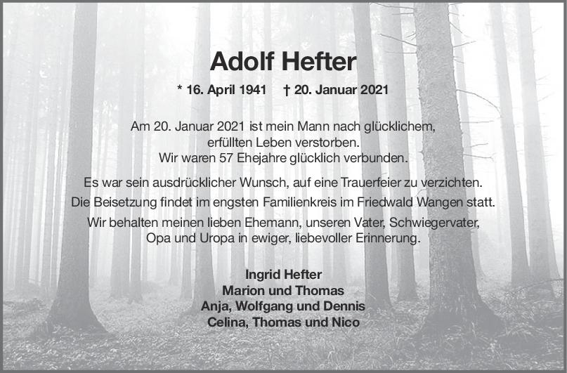 Trauer Adolf Hefter <br><p style=