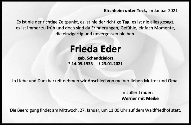 Trauer Frieda Eder <br><p style=