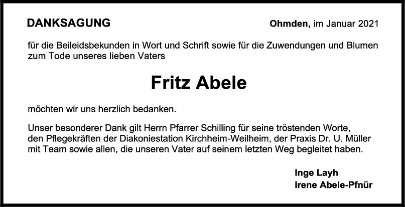 Danksagung Fritz Abele <br><p style=
