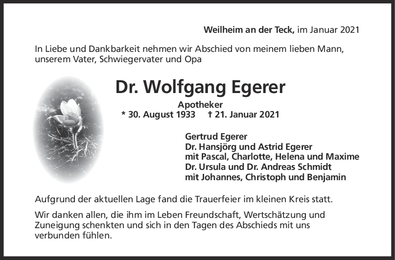 Trauer Wolfgang Egerer <br><p style=