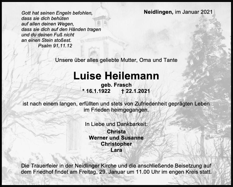 Trauer Luise Heilemann <br><p style=