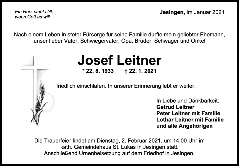 Trauer Josef Leitner <br><p style=
