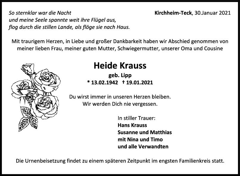 Trauer Heide Krauss <br><p style=