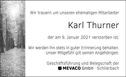 Nachruf Karl Thurner <br><p style=