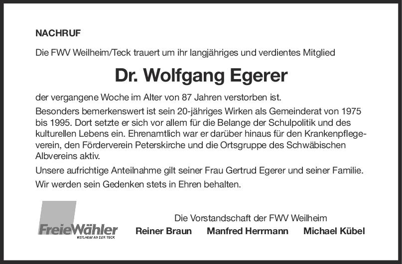 Nachruf Dr. Wolfgang Egerer <br><p style=