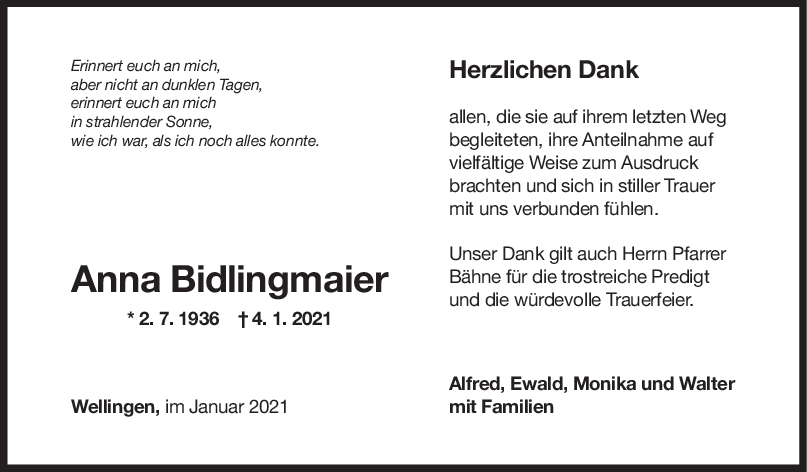 Danksagung Anna Bidlingmaier <br><p style=