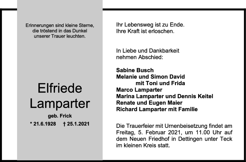 Trauer Elfriede Lamparter <br><p style=