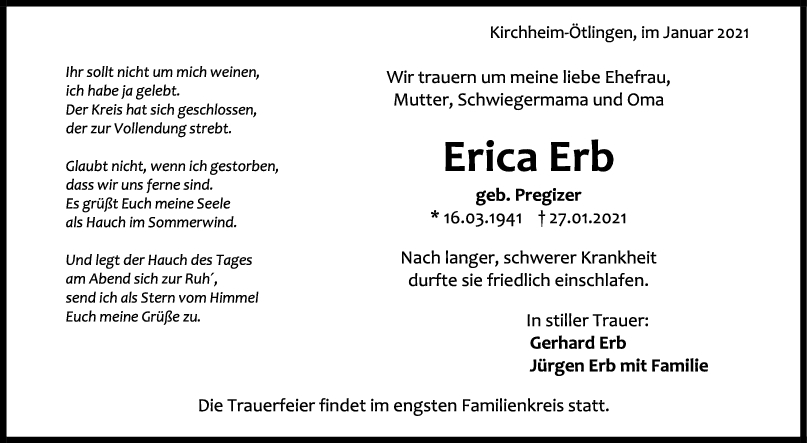 Trauer Erica Erb <br><p style=