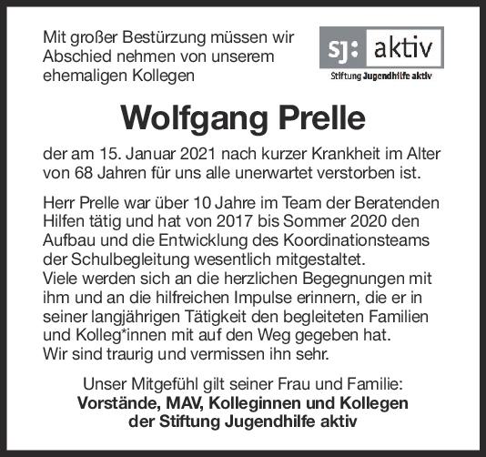 Nachruf Wolfgang Prelle <br><p style=