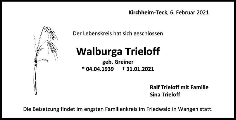 Trauer Walburga Trieloff <br><p style=