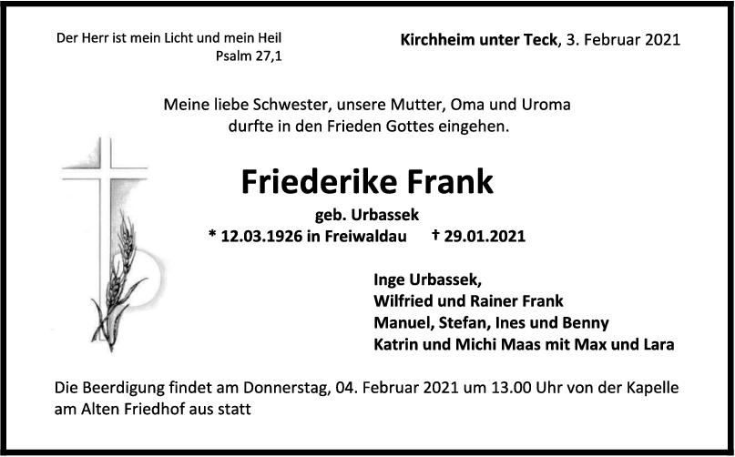Trauer Friederike Frank <br><p style=