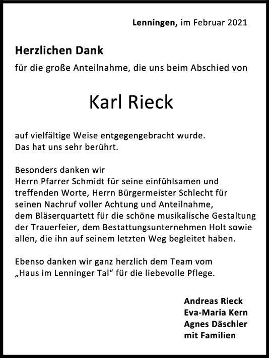 Danksagung Karl Rieck <br><p style=