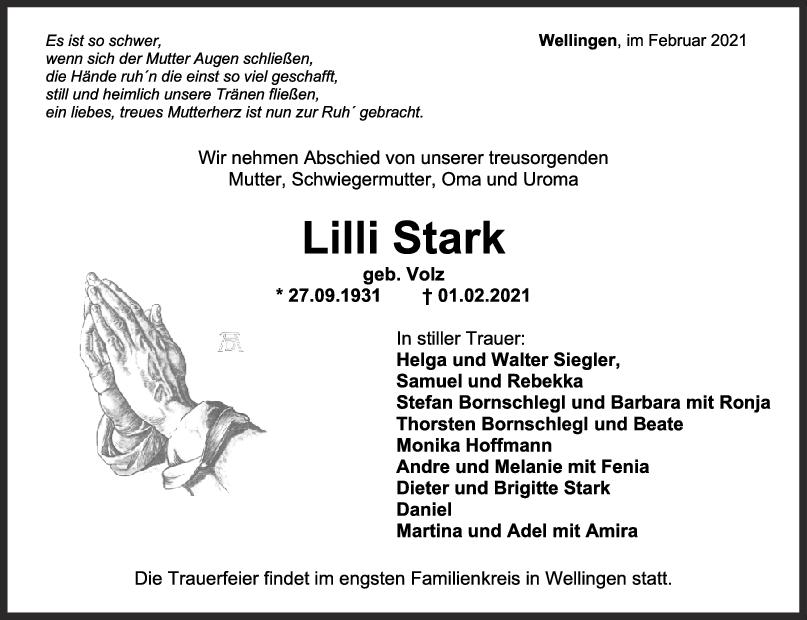 Trauer Lilli Stark <br><p style=