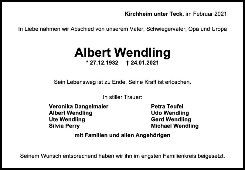 Trauer Albert Wendling <br><p style=