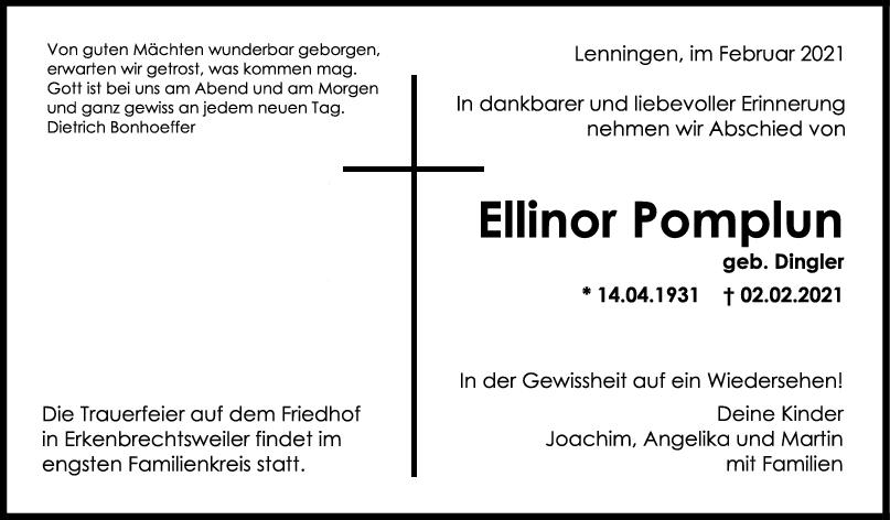 Trauer Ellinor Pomplun <br><p style=