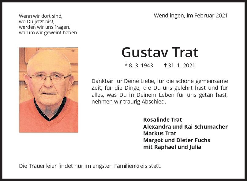 Trauer Gustav Trat <br><p style=