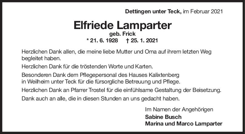 Danksagung Elfriede Lamparter <br><p style=