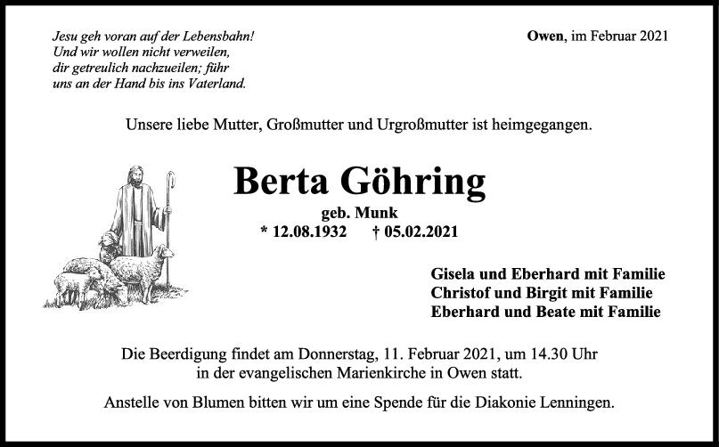 Trauer Berta Göhring <br><p style=