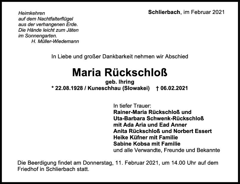 Trauer Maria Rückschloß <br><p style=