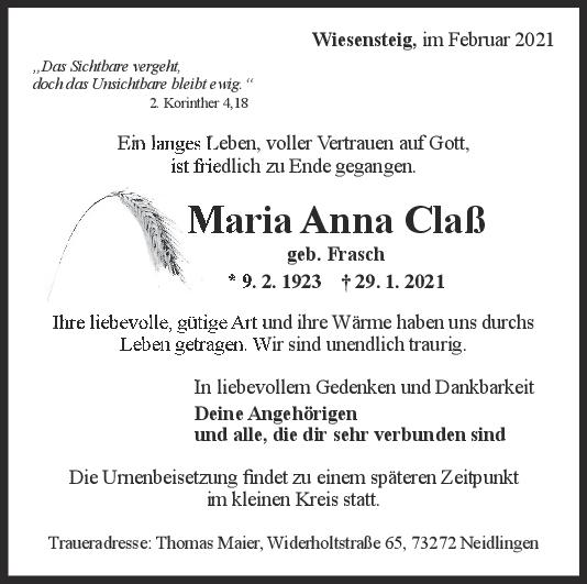 Trauer Maria Anna Claß <br><p style=