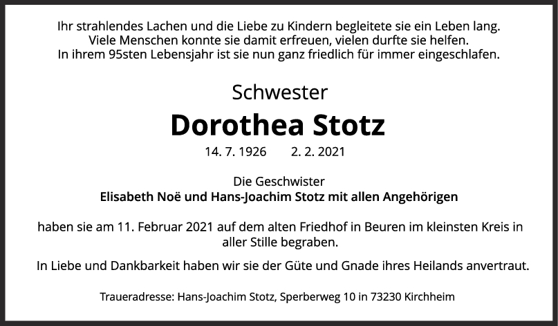 Trauer Dorothea Stotz <br><p style=