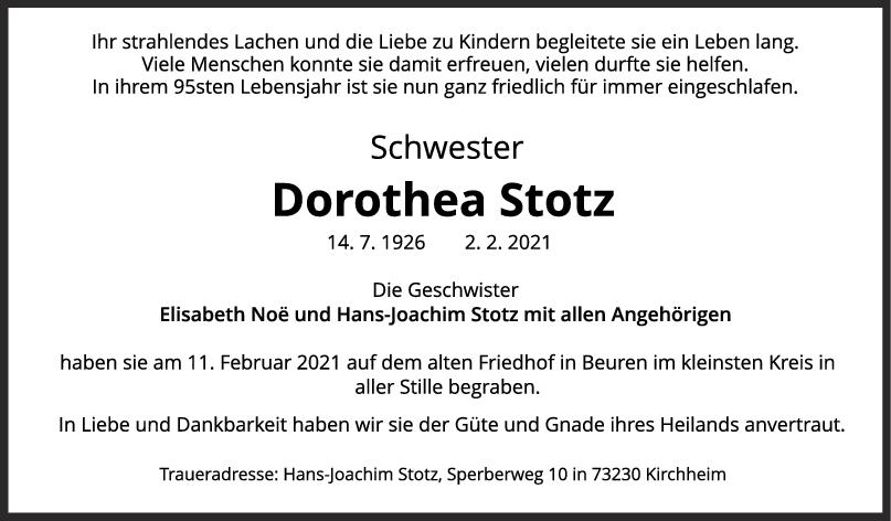 Trauer Dorothea Stotz <br><p style=