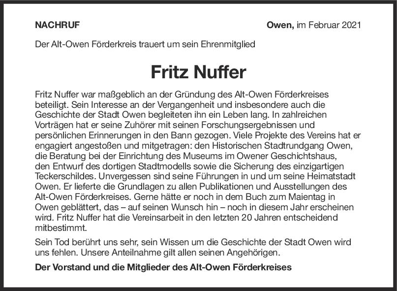 Nachruf Fritz Nuffer <br><p style=