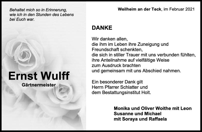 Danksagung Ernst Wulff <br><p style=