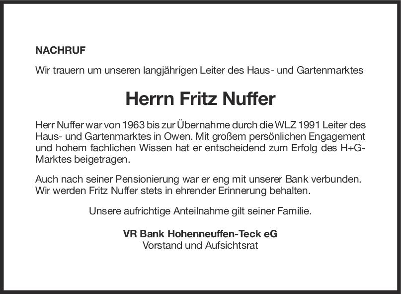 Nachruf Friedrich Nuffer <br><p style=