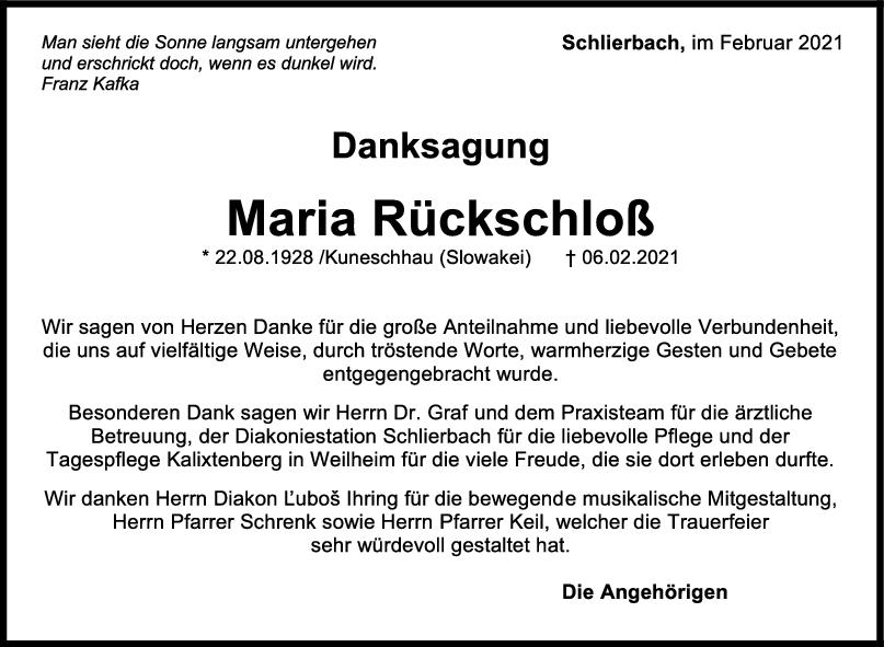 Danksagung Maria Rückschloß <br><p style=