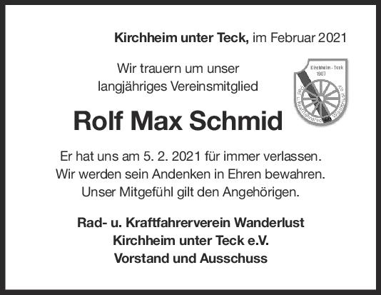 Nachruf Rolf Max Schmid <br><p style=