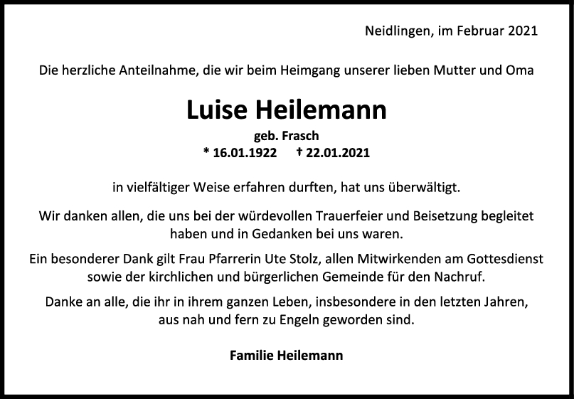 Danksagung Luise Heilemann <br><p style=