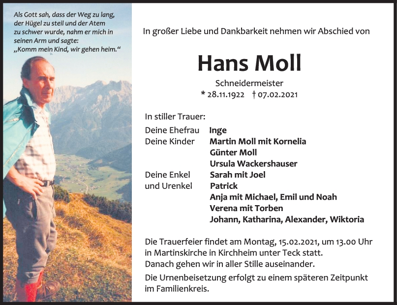 Trauer Hans Moll <br><p style=
