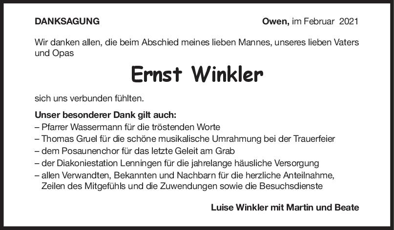 Danksagung Opa Ernst Winkler <br><p style=