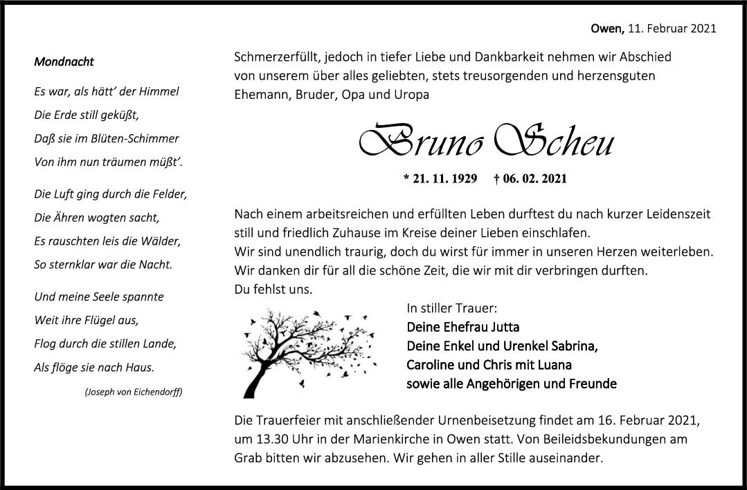 Trauer Bruno Scheu <br><p style=