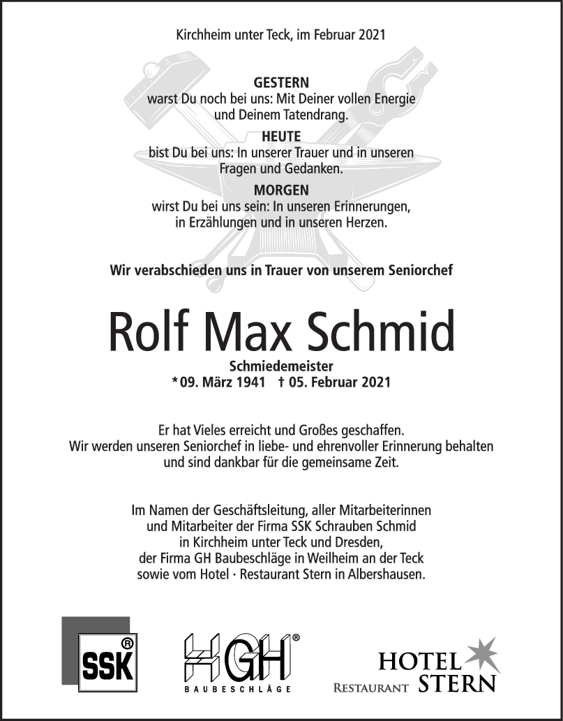 Trauer Rolf Max Schmid <br><p style=
