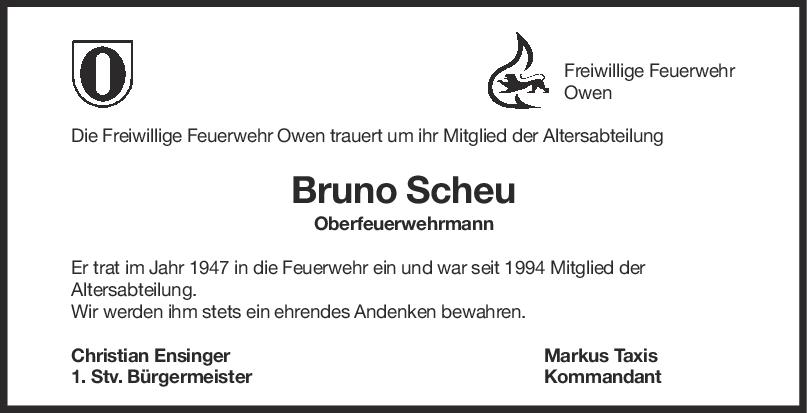 Nachruf Bruno Scheu <br><p style=