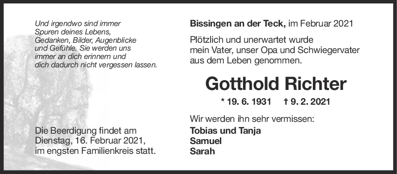 Trauer Gotthold Richter <br><p style=