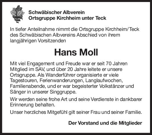 Nachruf Hans Moll <br><p style=