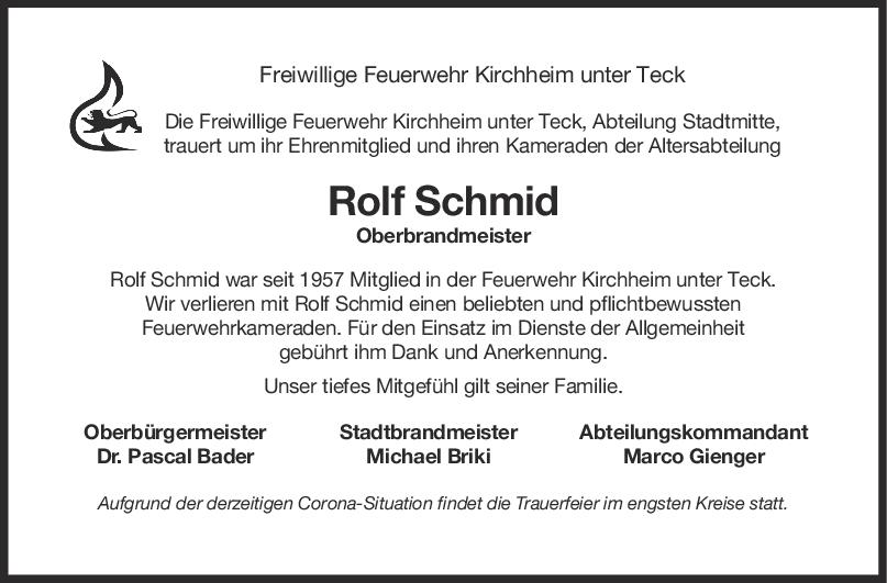 Nachruf Rolf Schmid <br><p style=