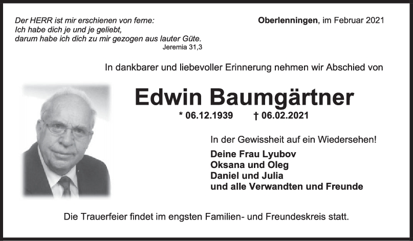 Trauer Edwin Baumgärtner <br><p style=