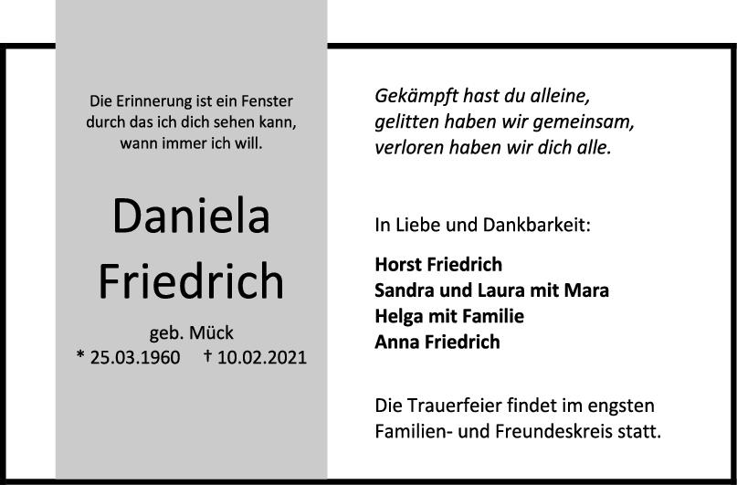 Trauer Daniela Friedrich <br><p style=