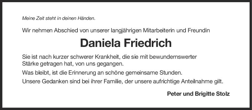 Nachruf Daniela Friedrich <br><p style=