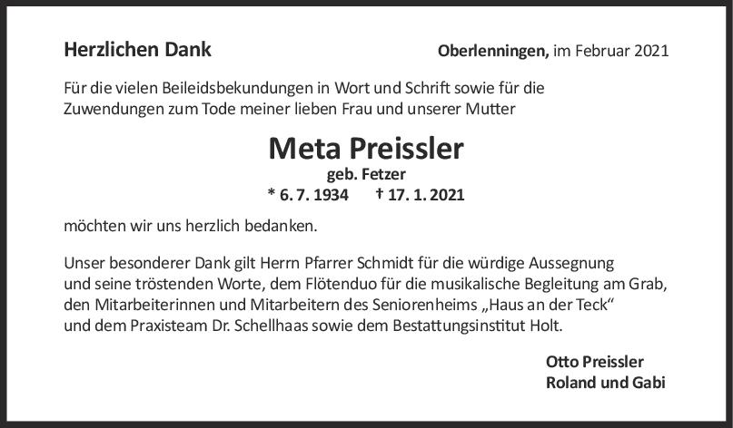 Danksagung Meta Preissler <br><p style=