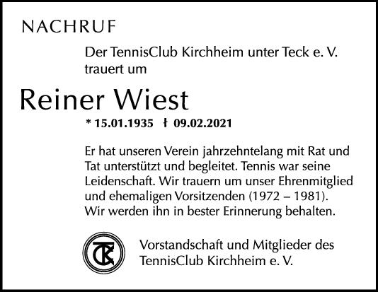 Nachruf Reiner Wiest <br><p style=