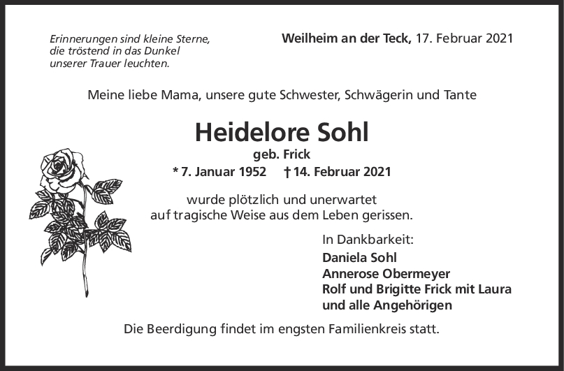 Trauer Heidelore Sohl <br><p style=