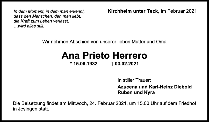 Trauer Ana Prieto Herrero <br><p style=