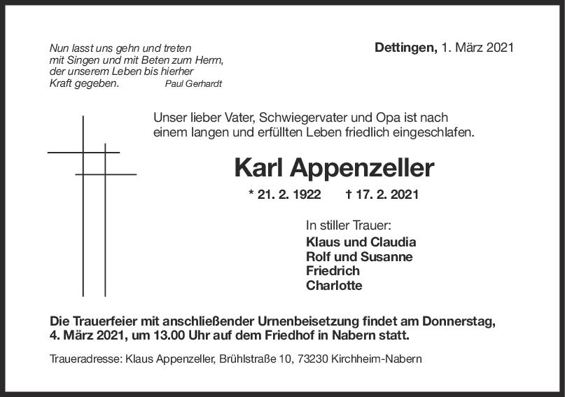 Trauer Karl Appenzeller <br><p style=