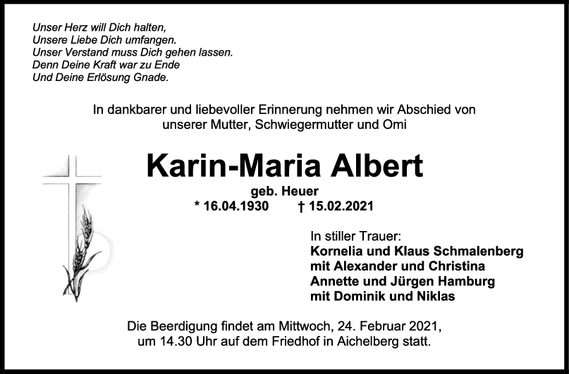 Trauer Karin-Maria Albert <br><p style=