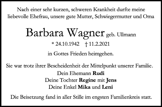 Trauer Barbara Wagner <br><p style=